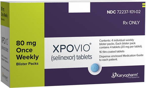 XPOVIO® (selinexor) 80 mg once weekly dose packaging